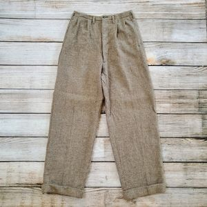 Vintage Tan Tweed Wool Wide Leg Flare Trousers